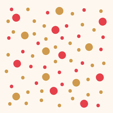 Cute background with gold and red confetti. Pattern for children's textiles and clothing. Cute hand-drawn peas in Doodle style in different colors. Yellow-gold and red dots isolated pattern. Vector illustration