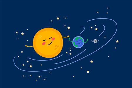 Illustration of cute Planets in a circle of stars. Cartoon universe for children: Sun, Earth, Moon. Beautiful friendly planets hand drawing for childrens textile design. Vector illustration