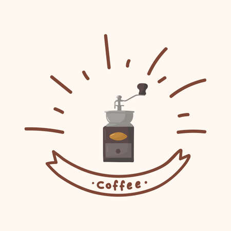 Cute hand-held coffee grinder. Hand-drawn coffee poster. Grain chopper for an invigorating drink in a circle of doodles. Cute hand-held machine for cappuccino, morning, latte, espresso, black flat style. Vector illustration