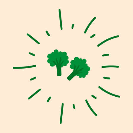 Broccoli poster in a circle of doodles. Cute green vegetable for your organic poster.