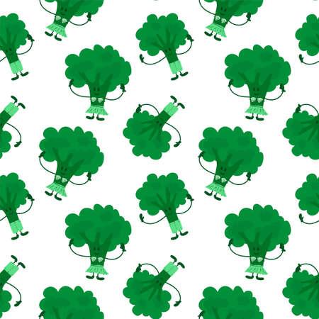 Fun broccoli background. Cartoon green vegetable for your organic textiles.