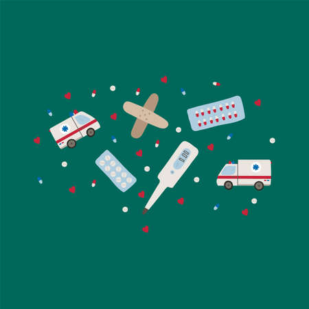 Cute set of medical symbols. Vector clipart in health icons. Hand-drawn icons: a medical patch, a thermometer, ambulances, a pallet with medicine in a circle of hearts and pills. Vector collection for medical institutions and training schools. Beautiful pictures of medicine. Vector illustration