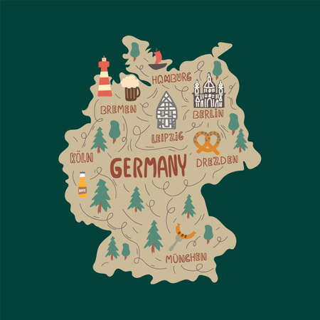 Vector collection for medical institutions and training schools. Beautiful pictures of medicine. Hand-drawn illustration of a map of Germany with City names. Concept of traveling through a German Country with names written in the style of doodles. Symbols of Germany and places of interest on the map. Vector illustration