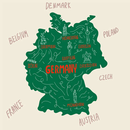 Symbols of Germany and places of interest on the map. Cities on the map: Germany, Germans, German, Hamburg, Berlin, Leipzig, Munich. Symbols of cities. Concept of traveling through a German Country with names written in the style of doodles. Vector clipart of the country. Vector illustration