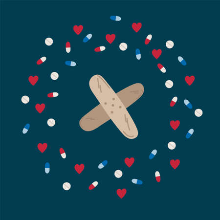Illustration of a medical patch. Cartoon medical items in a circle of hearts and pills. Drawn in the flat style for medical care and healthcare.