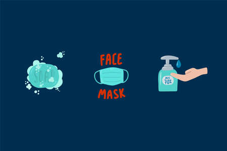 Beautiful icons of Hygiene in the Coronavirus epidemic. Illustrations of the prevention Of covid 19 coronavirus. High-quality design elements Mask, hand disinfection, soap. For the poster, personal hygiene instructions. Vector illustration