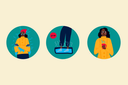 Set of illustrations of a woman freezing frostbite. Vector linear illustration of frozen hands, feet, ears, nose icons. Collection for the poster freezing, warming feet, hot drink. Action after the cold temperature to warm your feet in the water and a hot drink. Vector illustration