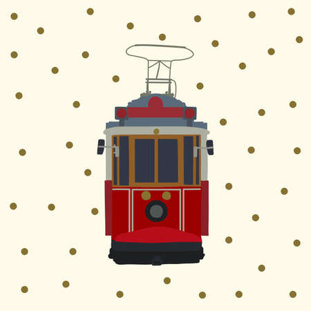 Retro tram card. Old red Turkish motor transport of the city. Tramcar for city trips. Electric cars Streetcar in the States postcard in the city for traveling the streets. Transport poster is ideal for issuing a travel ticket. Perfect for transport flyers, travel guides, and travel tickets. Vector illustration