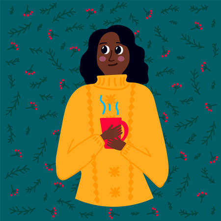A woman with a hot drink. Vector illustration in flat style of frozen people warming. Poster of a girl in a yellow sweater with a winter Christmas background. Drawing of a Man warming with a Cup. Vector illustration