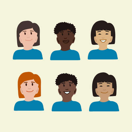 Different peoples are people. Different groups of people without medical masks. A collection of people of different races. Vector illustration