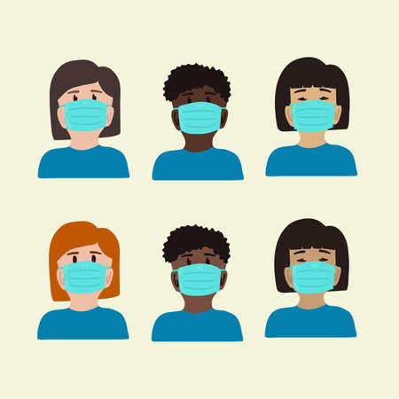 Coronavirus set of masked people. Different peoples people in masks. Collection of symbols of protection from the virus Covid 19. Vector illustration