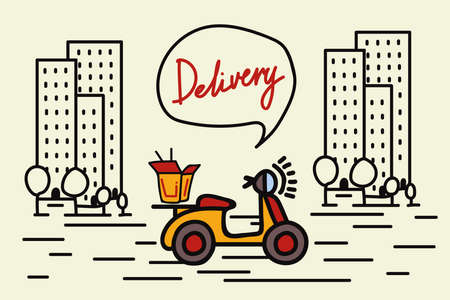 Nice home delivery service. Vector illustration of a bike with takeaway food, boxes of noodles and houses. Linear picture of a doodle-style food delivery icon in the city. Vecteurs
