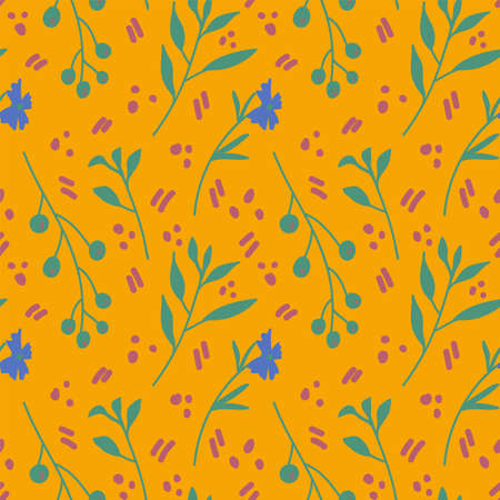 Nature background with flowers on yellow. Texture of blue flowers and green grass. Natural motifs in the pattern are drawn by hand. Picture for creating spring textiles. Vector illustration