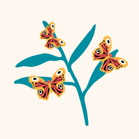 Illustration of a butterfly on a flower. Cute little insects hover near the flower. Doodle picture of soaring, colored, winged, with whiskers pollinating flying flowers.