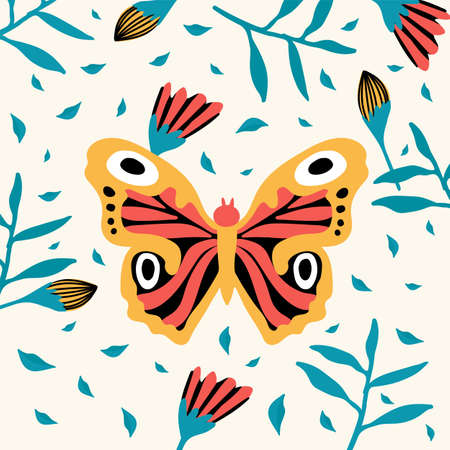 Tropical butterflies. A variety of insects fly near flowers. Doodle picture of soaring, colored, antennae, winged in nature. Illustration for a spring or summer poster. Vector illustration Ilustrace