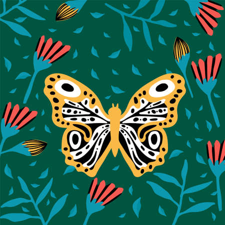 Great butterflies in the tropics. The insect pollinates the flowers. Doodle picture of soaring, colored, antennae, winged in nature.