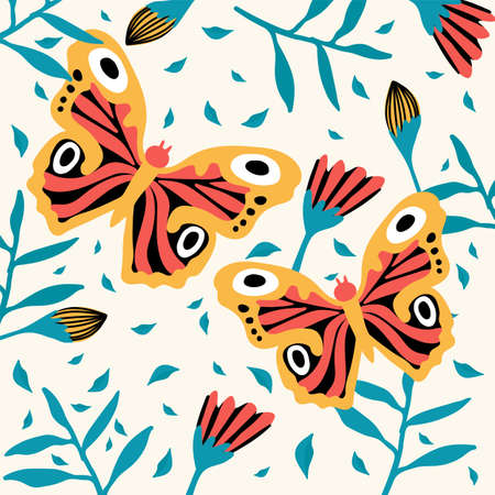 A pair of cute butterflies. A variety of insects fly near flowers. Doodle picture of soaring, colored, antennae, winged in nature. Tropical butterflies for spring or summer poster. Vector illustration Ilustrace