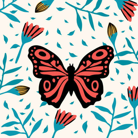Exotic black and red butterfly. A variety of flying insects with flowers. Doodle picture of soaring, colored, antennae, winged in nature. Illustration for a spring or summer poster. Vector illustration Ilustrace