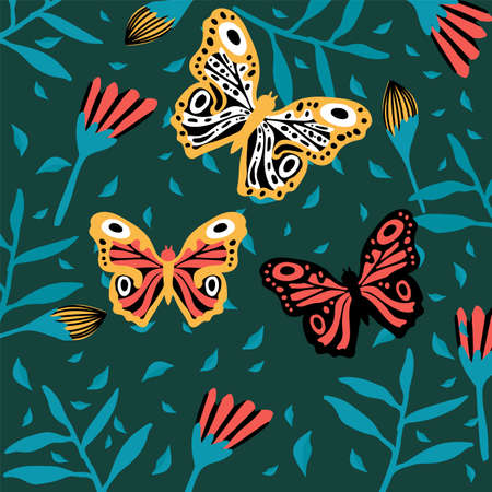 Lots of butterflies in the tropics. Colorful insects fly near the flowers. Doodle picture of soaring, colored, antennae, winged in nature.