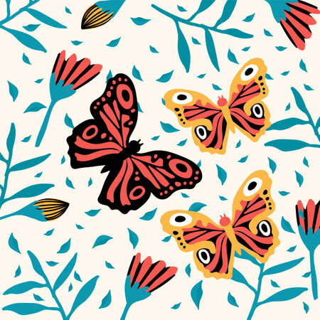A family of exotic butterflies. A variety of flying insects with flowers. Doodle picture of soaring, colored, antennae, winged in nature. Illustration for a spring or summer poster. Vector illustration