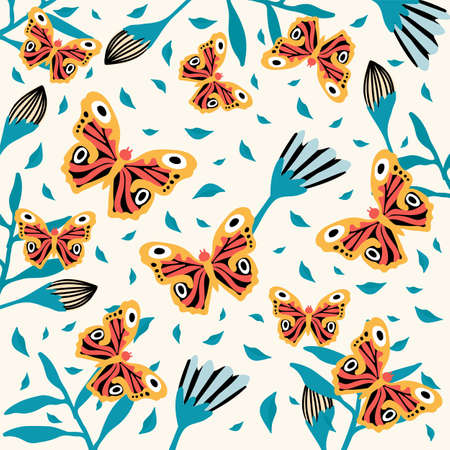 Beautiful butterflies on flowers. A variety of insects fly. Doodle picture of soaring, colored, antennae, winged in nature. For your exotic spring or summer poster design. Vector illustration