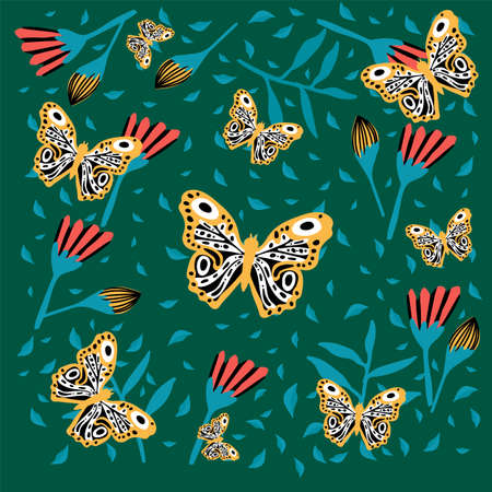 Poster of a butterfly in flowers. Insects hover in the rainforest. Doodle picture of soaring, colored, winged, with whiskers pollinating flying flowers.