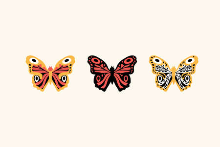 A Set Of Butterflies. Exotic colored flying insects. Collection of moths on a white background for posters. Vector illustration Ilustrace