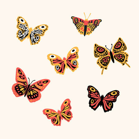 Set of butterflies flying insects. Cute little inhabitants of the animal world. A collection of soaring, colored, winged, whiskered pollinating flowers flying insects.