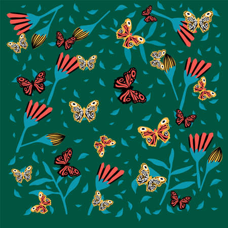 Background with butterflies and flowers. Floral rainforest with insects. Spring and summer poster. Doodle picture with insects and plants. Vector illustration
