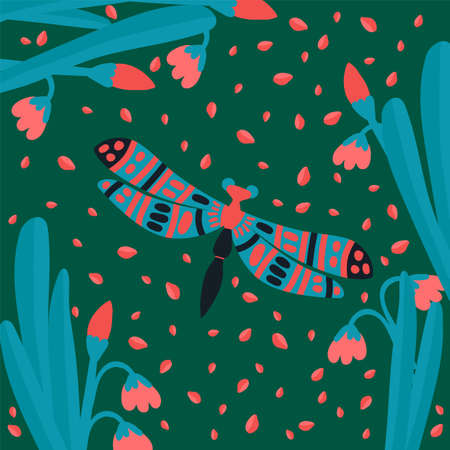 Postcard dragonfly in the grass. Cute butterfly in the tropics of the forest. Ilustração