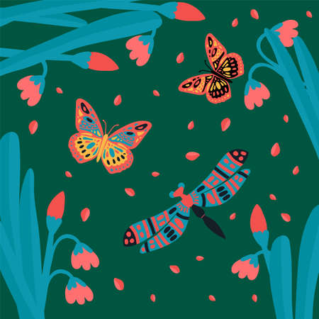 Lots of butterflies, flying insects. Cute little animals in the tropics of grass.