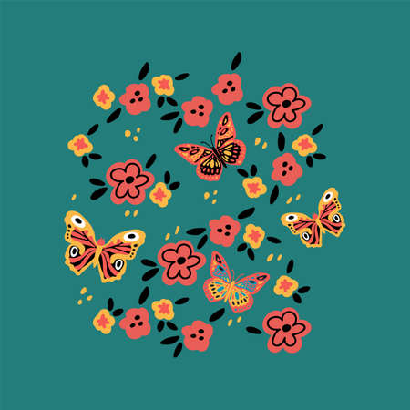 Spring with butterflies and flowers. Poster with moths and moths on a background of flowers. Vector illustration Ilustrace