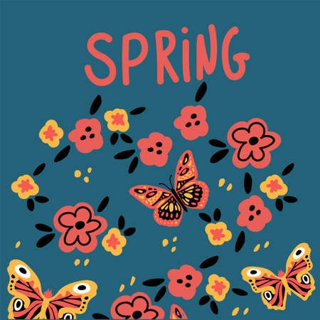 Postcard with butterflies and flowers. Cute moths and moths on a background of flowers. With lettering Spring. Vector illustration