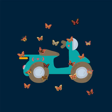Illustration of delivery and butterflies. Nice bike and a moth. Ilustrace