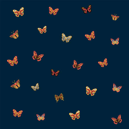 Pattern of a butterfly. Cute moths and moths on the backing. Postcard with soaring multicolored, winged, with antennae, pollinating flowers, moth, silkworm, mol, cutworm, dragonfly on a dark background. Vector illustration