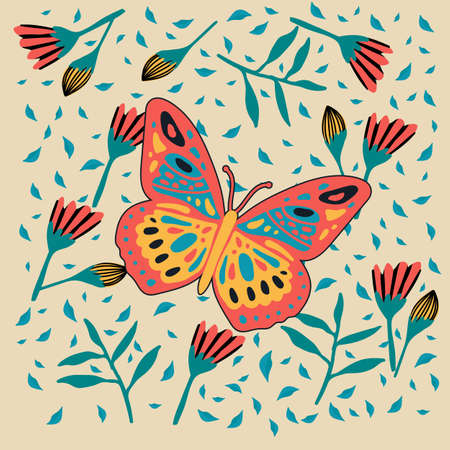 Illustration of a bright butterfly. Cute moth in the tropics of the forest.  Vector illustration