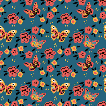 Butterfly pattern with flowers. Cute moths and moths on a background of flowers. Vector illustration