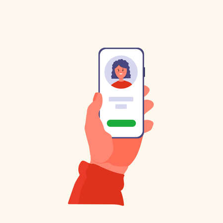 Hand holding the phone. Telephone with a picture of a happy girl on the screen. Online chat, phone or video call. Vector of a cartoon woman in the app. Vector illustration