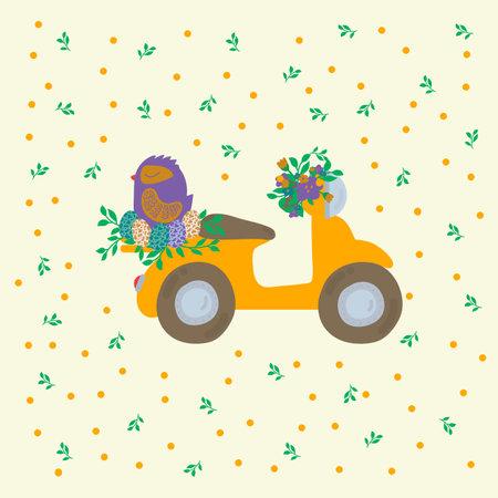 Postcard Easter bird on transport. Spring pattern of bike and chicken. Illustration Easter, spring, trees, greenery, flowers, nest house, bird eggs, foliage, transport. Vector illustration
