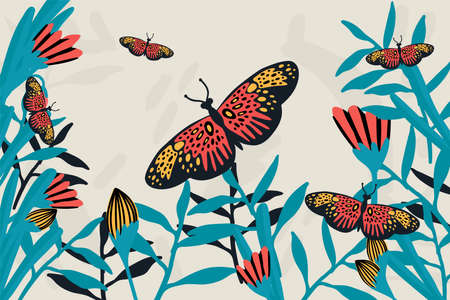 Spring butterfly banner. The doodles depicted winged, soaring butterflies, flowers, spring, eggs, and summer. Flower poster with moths in the tropics. Vector illustration Ilustração