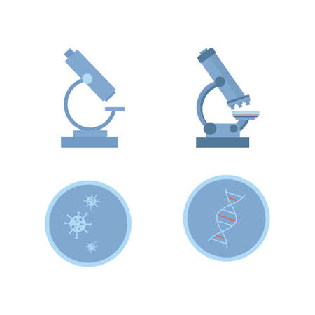 A set of lab tools icons. Microscopes and viruses. Vector research in the laboratory illustration in a flat style. Vector illustration