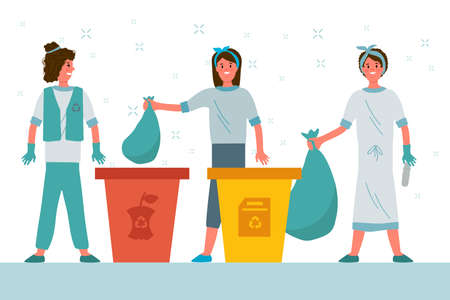People sort the garbage. Flat cartoon Stacking garbage in trash cans, dumpsters or barrels. A set of happy women practicing garbage collection, sorting, and recycling. Vector illustration