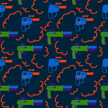 Background of Galactic Blasters. A bright game weapon for children's textiles. Toy blaster pattern for star games. Vector illustration Vektorgrafik