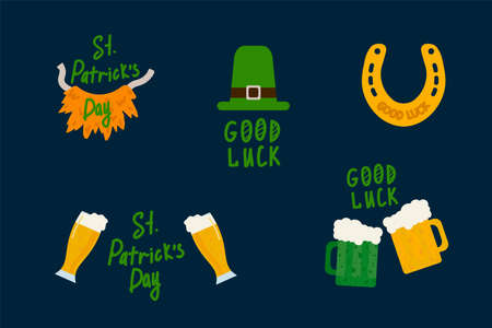 Good luck on Patrick's Day. Green Festival is a celebration of Clover. Illustrations of Clover, Beer, Ale, Hat, Horseshoe for a good day. Vector illustration