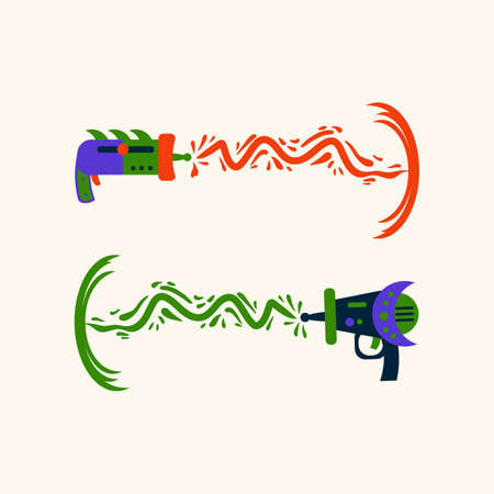 Space Blasters with lasers. Galactic game weapons for children's textiles or posters. Toy weapons for star Wars in the nursery. Vector illustration