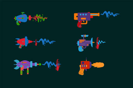 A set of blasters on a dark background. Game weapons with bright lasers. Space guns for children's fashion. Vector illustration
