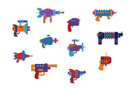 A large set of Galactic blasters. Bright game weapons for children's illustrations and posters. Space pistols are multicolored. Vector illustration Vektorgrafik