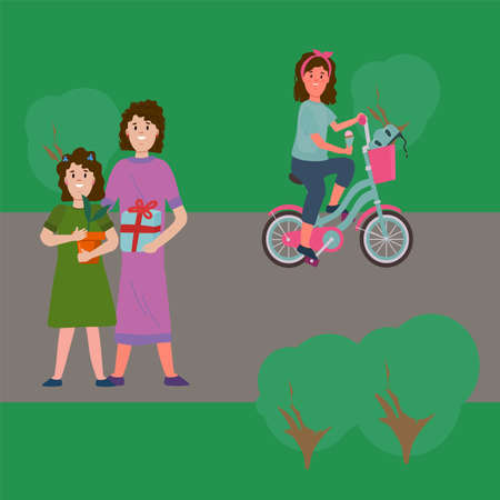 People in the park on a walk. Illustration of a girl in the park on a bicycle. A family with a flower and gifts. Beautiful vector clip art of walking in the park. Vector illustration