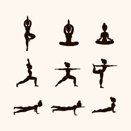 Set in black Yoga poses. Icons of Women doing Yoga. The concept of relaxation, meditation. The bodies of the people for the logo are filled with dark color. Vector clip art in a flat style