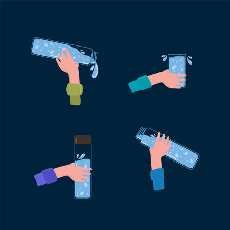A man with bottles of drinking water. The concept of people holding a plastic bottle, a glass mug of water. Vector set of flat-style illustrations